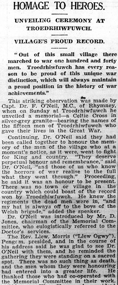Newspaper account of unveiling of War Memorial
