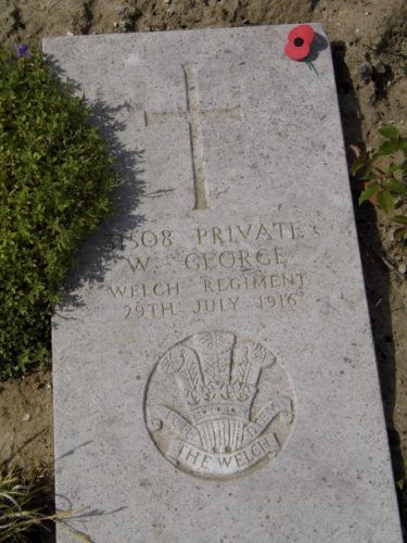 William George's grave at Wimereux. Because of the sandy soil the gravestones are laid flat. Photo courtesy of Carwyn Hughes.